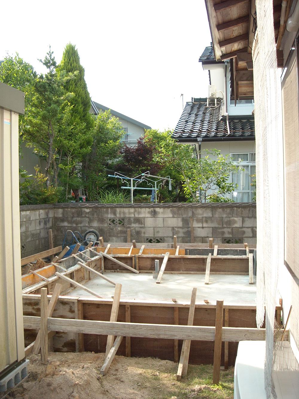 松江市島根大学付近K様邸増築基礎工事。